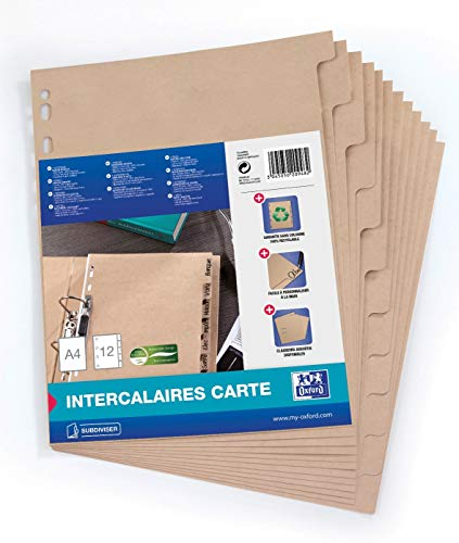 Oxford 100204955 Register Touareg aus Recycling-Kraftkarton für DIN A4 12 Taben 12-teilig  beige Karton Ringbuch Ordner Ring-mappe Ringbuch Hefter