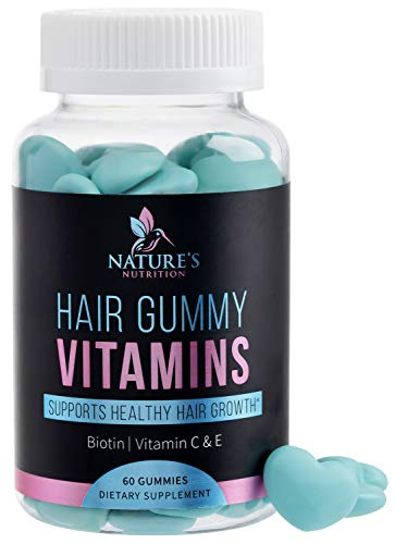 Hair Gummy Vitamins with Biotin 5000 mcg, Vitamin E & C to Support Hair Growth, Premium Pectin-Based, Non-GMO, Supports Strong, Healthy Hair & Nails, Blue Berry Supplement - 60 Gummies