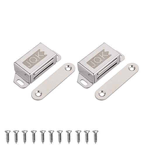 JQK Magnetic Door Catch, Heavy Duty Magnet Latch Cabinet Catches for Cabinets Shutter Closet Furniture Door, Stainless Steel 20 lbs Silver (2 Pack), CC101-P2