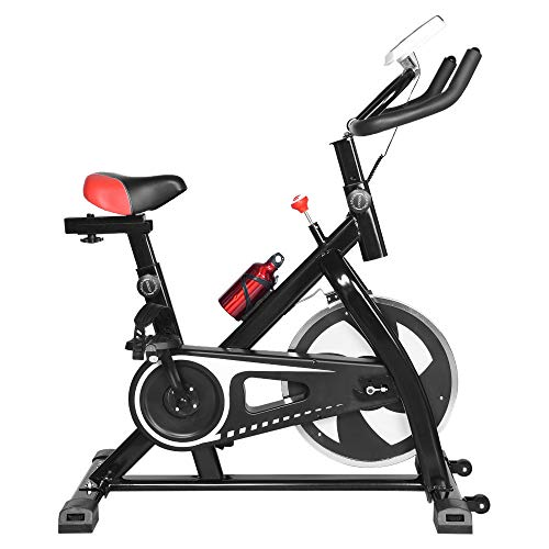 Indoor Cycling Bike Stationary, Professional Exercise Bike, LED Screen Display, Heart Rate Sensor, Adjustable Bench, Silent Belt Drive, 270 Lbs Weight Capacity (Black)