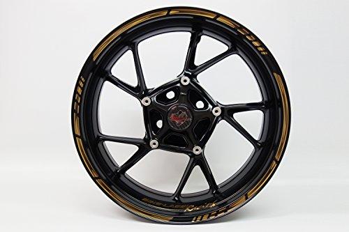 Felgenrandaufkleber 720000 Rim Stripes GP-Style - Golden/Bronze Metallic Stripes - komplett Set - für 16 Zoll, 17 Zoll und 18 Zoll (9 mm Breite Felgenstreifen) - für 2 Motorrad-/ oder 4 Autofelgen