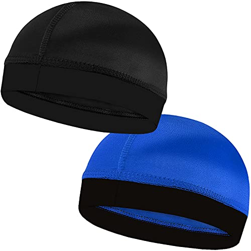 2PCS Silky Stocking Wave Caps for Men, Doo Rags Compression Cap for 360, 540, 720 Waves (Blue+Black)