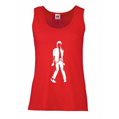 lepni.me Camisetas sin Mangas para Mujer Me Encanta M J - Rey del Pop, 80s, 90s Músicamente Camisa, Ropa de Fiesta (Small Rojo Blanco)