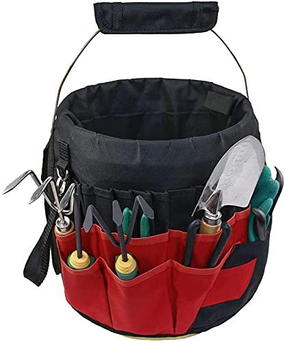 Cubo bolsa de herramientas multiusos con 42 bolsillos, cubo organizador de herramientas de jardín, resistente al agua, de alto rendimiento