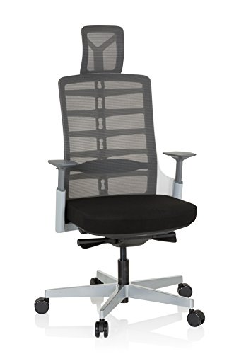 hjh OFFICE 640410 Profi Bürostuhl SKARIF Stoff Schwarz/Grau/Weiß ergonomischer Drehstuhl mit Flexibler Rückenlehne