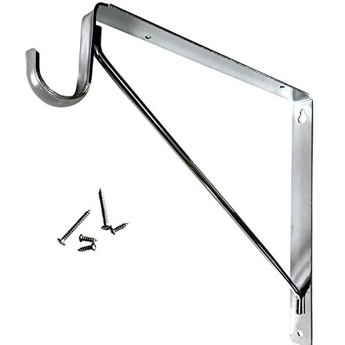 Welded HEAVY DUTY Closet Rod & Shelf Support Bracket - Chrome