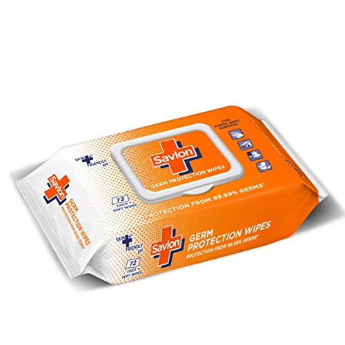 Savlon Germ Protection Multipurpose Thick & Soft Wet Wipes with Fliptop lid – 72 Wipes Multi Purpose