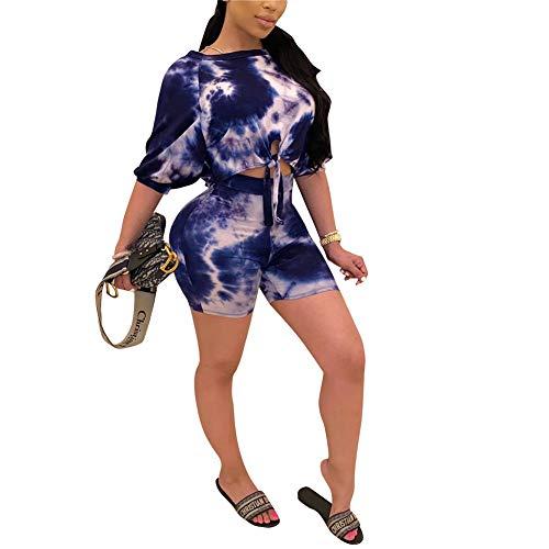 Acelitly Women's 2 Piece Outfits Tie Dye Printed Half Sleeves Crop Top Bodycon Shorts Jumpsuit Set Clubwear Set Set Blue Large