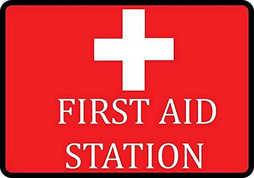 YY-one Blechschild rot Erste-Hilfe-Station Schild Deko für Krankenhaus Aluminium Metallschild Wanddekoration 20,3 x 30,5 cm