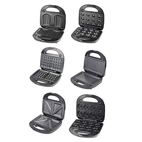 Plasaig Monsieur - Máquina de sándwich, gofrier, prensa para paninis, 750 W, dispositivo de sándwich con 6 placas antiadherentes e intercambiables, termostato automático