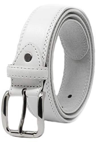 Ossi 32mm- Cinturón para hombre, XL (102cm - 112cm cintura), Blanco