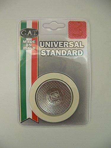 GAT Italy - Juego de 3 tazas para cafetera de espresso, incluye juntas de goma y filtro, aluminio, color plateado, 15 x 10 x 2 cm