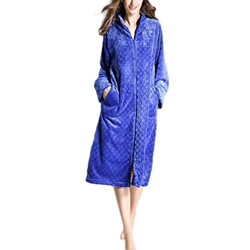 Damen Morgenmantel aus Baumwolle Bademantel Nachtwäsche Kimono Saunamantel mit Tiefer V-Ausschnitt und Reißverschluss Schlafanzug Blau XL