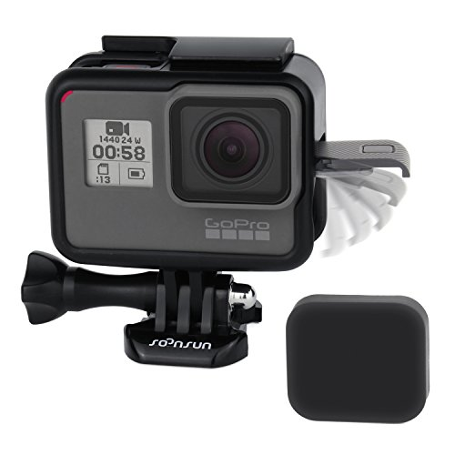 SOONSUN Frame Mount Housing Case with Lens Cover for GoPro Hero 5 6 7 Hero 2018 Hero5 Hero6 Hero7 Black Camera - Strong Structure and All Slots Fully Accessible