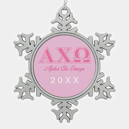CiCiDi Alphi Chi Omega Pink Letters Snowflake Pewter Christmas Ornament, Snowflake Pewter Christmas Ornament Custom Name, Date, Photo