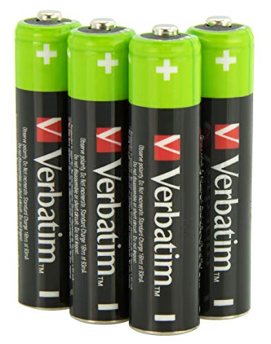 VERBATIM Premium AAA Rechargeable Batteries 4-pack 1.2V 950mAh I Batteries NiMH HR03 rechargeables I Autodécharge faible I Piles Mignon préchargées pour contrôleur jouets appareil photo et plus