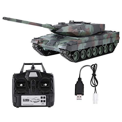 Dilwe Deutsche Panzer kampfwagen, 1/16 2,4-GHz-Fernbedienung Simulation Panzer Leopard 2 A6-Modell mit 320 Grad Drehendem Turm bewegen Barrel(Heng Long 3889-1)