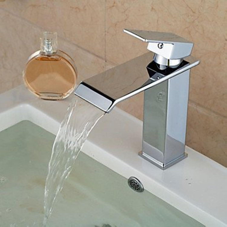 Zeitgenssischer Wasserfall-Chrom-Waschbeckenhahn mit kupfernem Hahnloch, Hhnen, Küchenhahn und Badezimmer