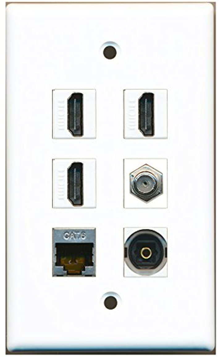 RiteAV - 3 HDMI 1 Port Coax Cable TV- F-Type Shielded Cat6 Ethernet Toslink Wall Plate - White