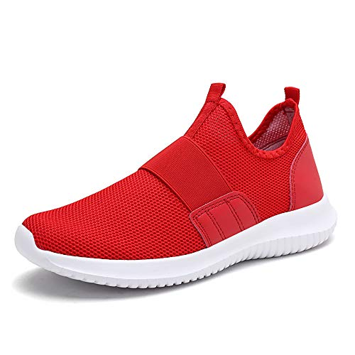 Zapatillas Deportivas YCH para Hombre, livianas, Informales, de Malla, Transpirables, para Correr y Caminar, Color Rojo, Talla 41.5 EU