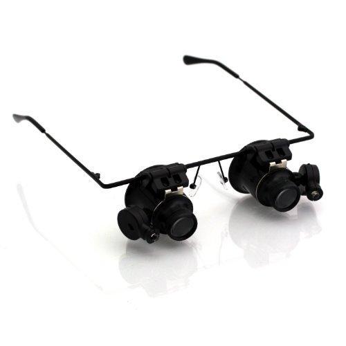 Hochwertige 2er Lupenbrille Oramics mit 20 x Vergrößerung und verstellbarem LED Licht ideal für Juweliere Uhrmacher etc.