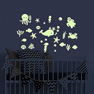 Benbo Unicorn Wall Decals Glow in The Dark Unicorn Stars Fairytale Fairy Wall Stickers DIY Kids Girls Bedroom Home Nursery Room Wall Mural Decor (Sea Fish)