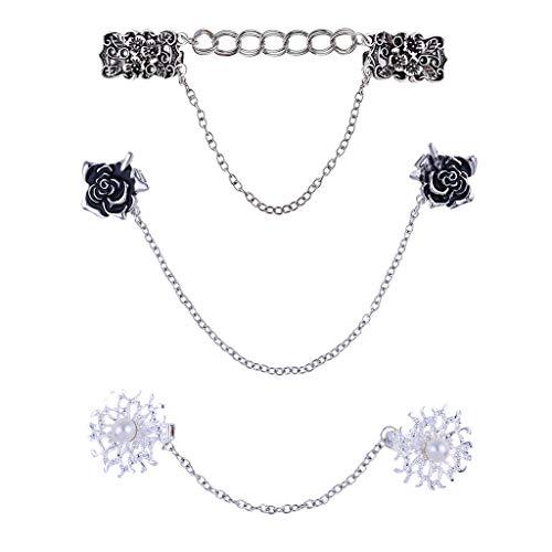 SOFEA Cárdigan para mujer, 3 piezas retro suéter chal clip cárdigan vestido de collar de flores, cadena de clip para mujeres y niñas