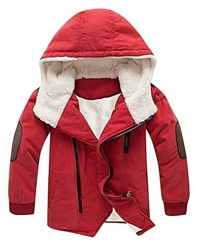 Big Kids Winter Duck Down PufferJacket for Boy Girl Light Puffer Coat Hooded Mid- Length Cotton Jacket 4-9 Years (Color : Red, Size : 9-10 Years)