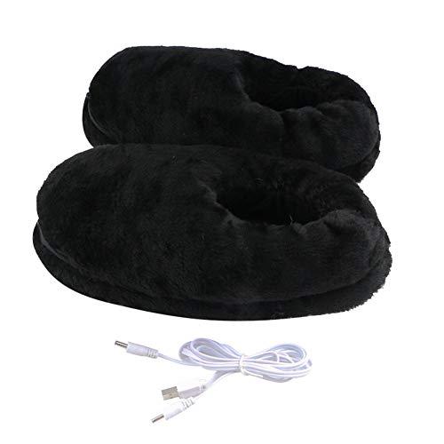 LICHENGTAI USB Beheizter Fußwärmer, 1 Paar Elektrische Heizung Hausschuhe USB Warme Plüschschuhe Pantoffeln, Fußwärmer für Füße Kälteentlastung Winter, für Männer und Frauen, Schwarz