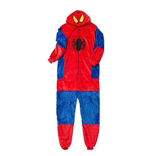 LINLIN Spider-Man Pigiama all in One Piece Pajama Set con Cappuccio Tutina per Ragazzi Bambini per Bambini di Halloween Regalo di Natale Tutina Polar Fleece Sleepwear,Blue-Adult M (158~168cm)