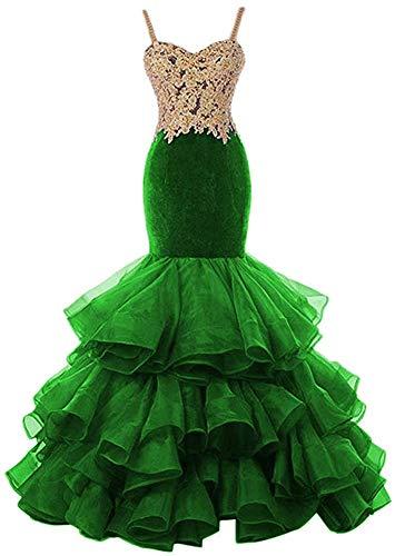 HUINI Abendkleider Meerjungfrau Prinzessin Brautkleider Standesamt Brautmode Hochzeitskleid Organza Ballkleider Lang Grün 36