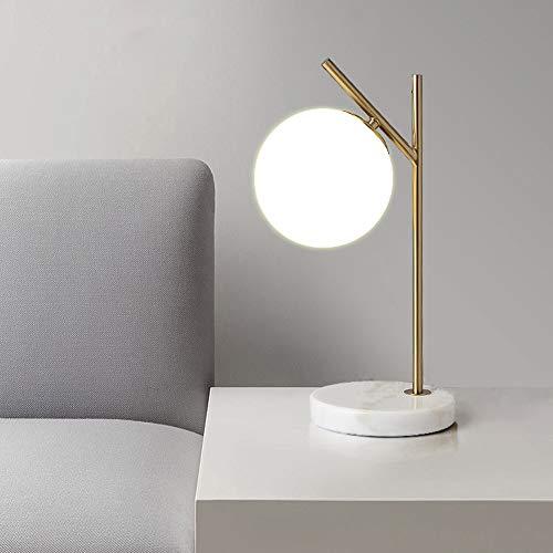 Lámpara de mesa con base de mármol, redonda, color blanco, pantalla de cristal, interruptor de mano, metal cepillado dorado, bombilla G9, para dormitorio, comedor, oficina, habitación infantil