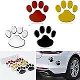 2 unids/Set calcomanías de automóviles y calcomanías Paw 3D Animal Dog Cat Bear Hoot Pie Foot Poss Peat Decal Pegatina de Coche Silver Red Black Golden (Color Name : Black)