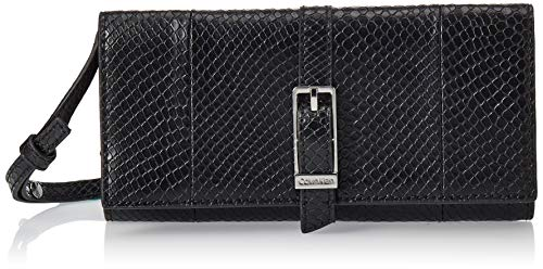 Calvin Klein - Winged Trifold On String, Carteras Mujer, Negro (Black), 4x10.5x19...