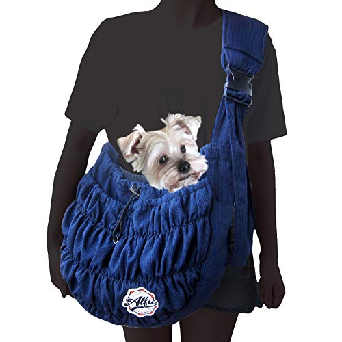 Alfie Pet - Tyler Pet 1-Sided Mesh Sling Carrier - Color: Navy