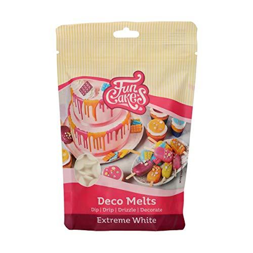 FunCakes Deco Melts extrem weiß - tauchen, drippen, dippen und dekorieren! In der Mikrowelle schmelzen und in jede Form gießen, 250 g