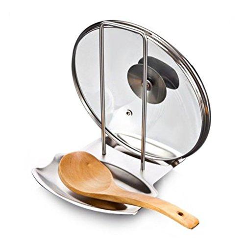 BESTOMZ Supporto Coperchio di Pentole Cucchiaio Resto in Acciaio Inox Utensile da Cucina