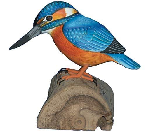 MyFamilyHouse Kingfisher Dekofigur, handgeschnitzt, Holzfigur, Vogelbeobachter, Geschenk, Gartenvögel, Fair Trade