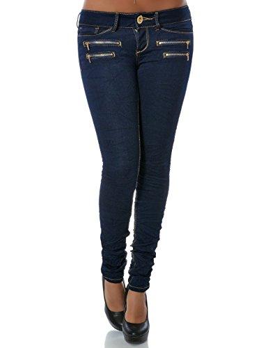 Damen Jeans Hose Skinny Röhre Stretch Denim DA 14089 Farbe Navy Größe XS / 34