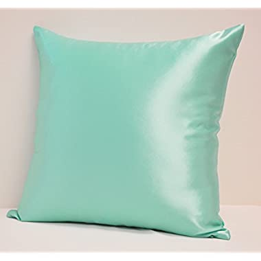 Creative Colorful Shiny Satin Throw Pillow 18 By 18 - Teal
