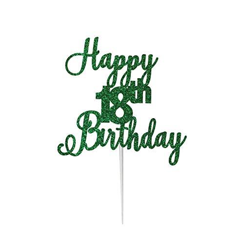LissieLou - Tarjeta de felicitación de 18 cumpleaños con purpurina para tartas, hecha en el Reino Unido