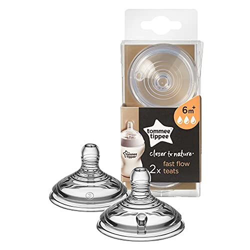 Tommee Tippee Closer to Nature Baby Bottle Teats, Breast-like, Anti-colic valve, Soft Silicone, Fast Flow, Pack of 2