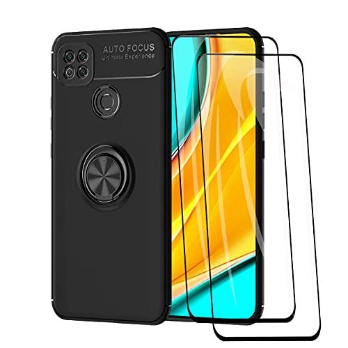 WEIOU Funda para Xiaomi Redmi 9C NFC  Redmi 9C + 2 Cristal Templado, TPU Silicona Bumper Protección Carcasa Caso Case con Shock- Absorción y 360° Anillo Kickstand, Negro+Negro