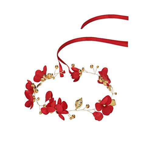 QFF Q Guirnalda de Flores Hechas a Mano Coreano Rojo Nupcial Tiara niños Diadema Boda Accesorios para el Cabello F