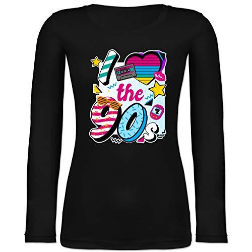 Shirtracer Statement - I Love The 90s bunt - L - Schwarz - i Love 90s - BCTW071 - Langarmshirt Damen