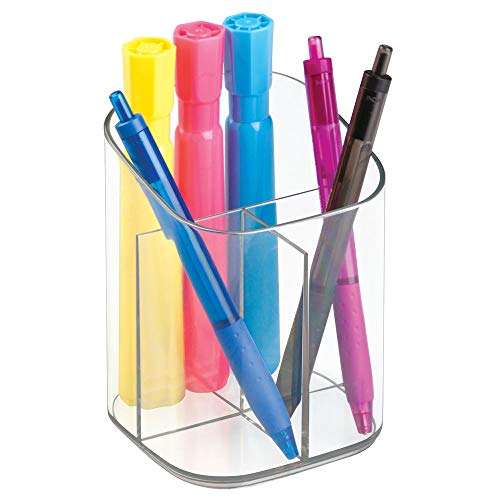 mDesign Plastic Divided Home Office Desk Organizer Holder Cup Caddy - Sorts Pens and Holds Pencils, Pens, Scissors, Highlighters, Paperclips - 3 Compartments - Clear