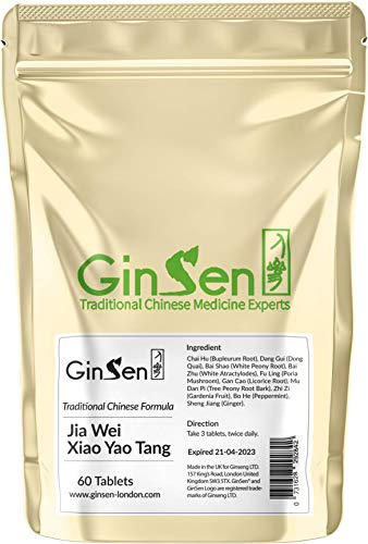 GinSen Jia Wei Xiao Yao Tang Helps with PMS Related Anxiety, Stress, Panic, PMT, Natural Supplement, Chinese Medicine (60 Tablets)