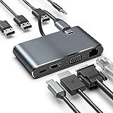 XDDIAS Hub USB Tipo C, 8 en 1 Hubs de Aluminio Tipo C con HDMI 4K VGA 1080P Gigabit Ethernet RJ45 3.5mm de Salida de Audio 3 USB 3.0 Carga PD Tipo C para USB Dispositivos Tipo C
