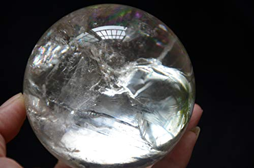 Real Tibet Himalayan High Altitude Clear Crystal Rainbow Quartz Ball Sphere Orb 3.30 Inch Spiritual Reiki Healing