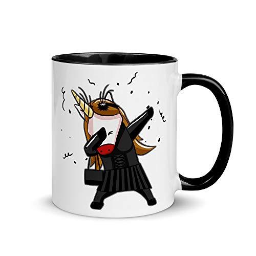 Dabbing Gothic Unicorn | Grappig koffiekopje | Zwarte Dab Goth Unicorn | Cadeau voor kinderen Batcaver Gothics | Eenhoorns Fans | Tweekleurige beker